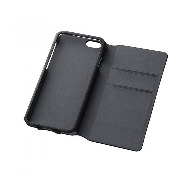 【iPhone6ケース】右開き 合皮カラフル手帳型ケース ブラック iPhone 6_0