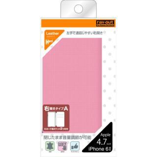 【iPhone6ケース】右開き 合皮カラフル手帳型ケース ピンク iPhone 6_3