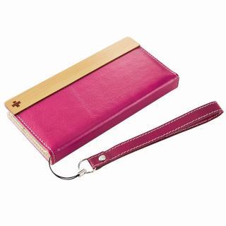 PUレザー/ファブリック手帳型ケース ピンク iPhone 6ケース
