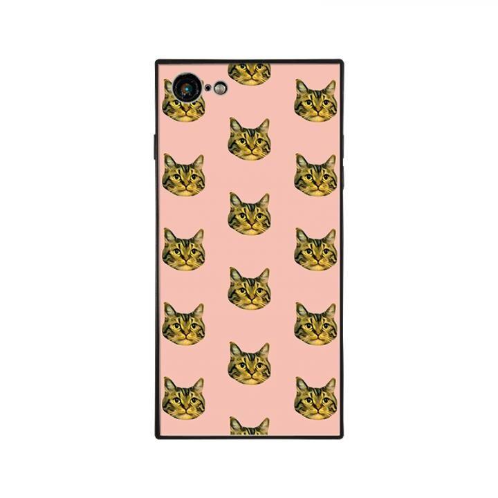 iPhone8/7 ケース anniv.(アニバーサリー) スクエア型 背面ガラスケース CAT PATTERN iPhone 8/7_0