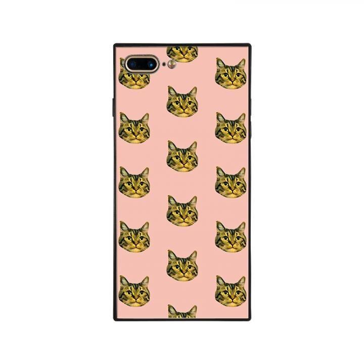 iPhone8 Plus/7 Plus ケース anniv.(アニバーサリー) スクエア型 背面ガラスケース CAT PATTERN iPhone 8 Plus/7 Plus_0