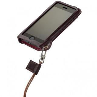 iPhone SE/5s/5 BZGLAM本牛革ネックストラップカバー ブラウン