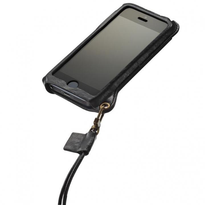 iPhone SE/5s/5 ケース iPhone SE/5s/5 BZGLAM本牛革ネックストラップカバー ブラック_0