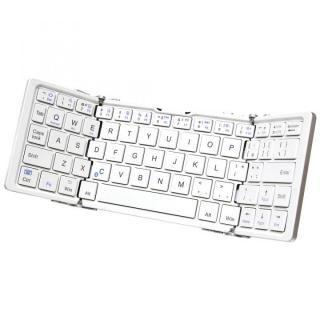 [百花繚乱セール]Bluetooth3.0 ワイヤレス折りたたみ式英語配列64キーボード ホワイトキー x シルバー