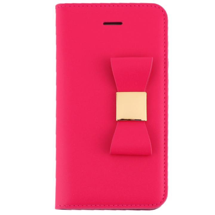 LAYBLOC リボンクラシック 手帳型ケース ホットピンク iPhone SE/5s/5