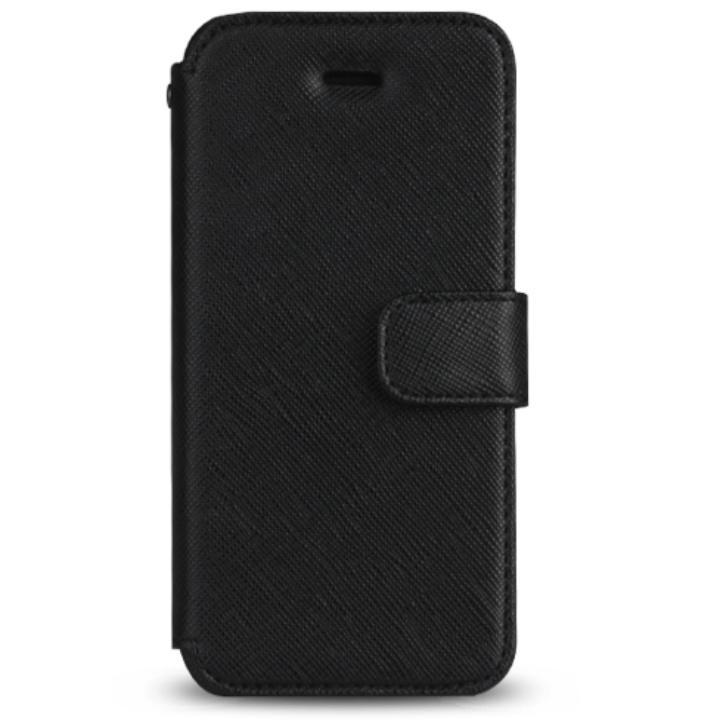 Prestige Minimal サフィアーノレザー手帳型ケース ブラック iPhone SE/5s/5