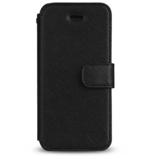 iPhone SE/5s/5 ケース Prestige Minimal サフィアーノレザー手帳型ケース ブラック iPhone SE/5s/5