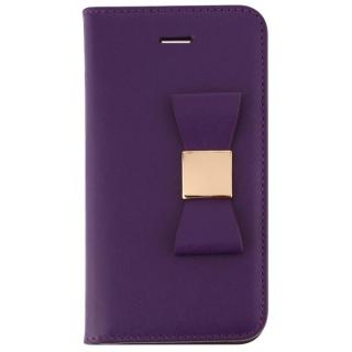 【iPhone SE/5s/5ケース】LAYBLOC リボンクラシック 手帳型ケース パープル iPhone SE/5s/5