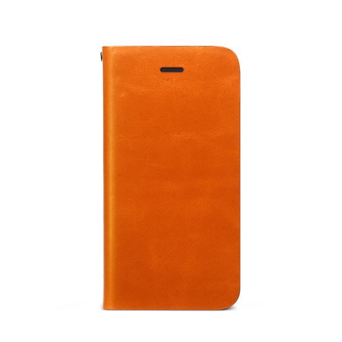 Prestige Signature 天然カウハイドレザー手帳型ケース オレンジ iPhone SE/5s/5