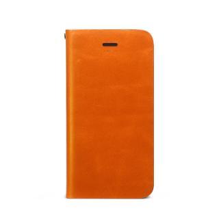 【iPhone SE/5s/5ケース】Prestige Signature 天然カウハイドレザー手帳型ケース オレンジ iPhone SE/5s/5