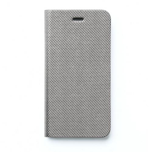メタリックカラー イタリアンPUレザー手帳型ケース シルバー iPhone SE/5s/5