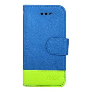 スタンド機能付き手帳型合皮ケース ブルー/グリーン iPhone SE/5/5s