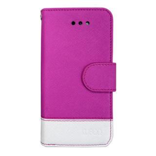 スタンド機能付き手帳型合皮ケース ピンク/ホワイト iPhone SE/5/5s