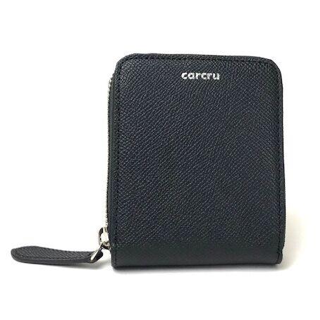 carcru(カルクル) ポップアップウォレット ラウンドファスナーカードケース ブラック_0