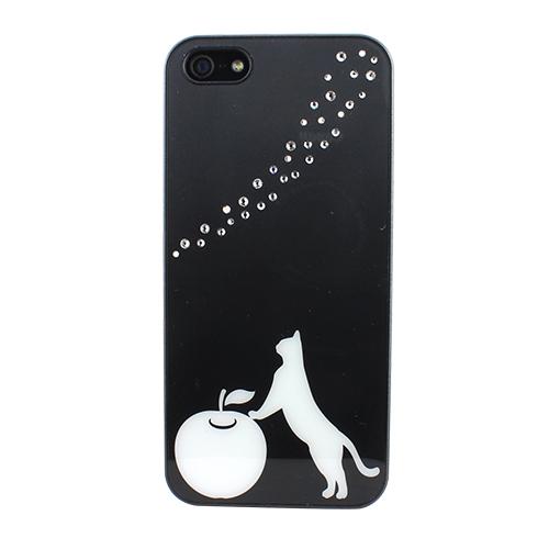 iPhone SE/5s/5 ケース Fantastick ラインストーン ブラックケース Curious Cat iPhone SE/5/5s_0