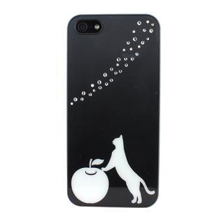 Fantastick ラインストーン ブラックケース Curious Cat iPhone SE/5/5s