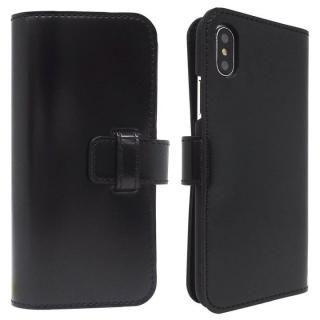 【iPhone Xケース】コードバン・レザー手帳型ケース ブラック iPhone X