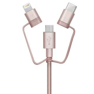 [1m]3 in 1 ケーブル Lightning USB Type-C microUSB ローズゴールド