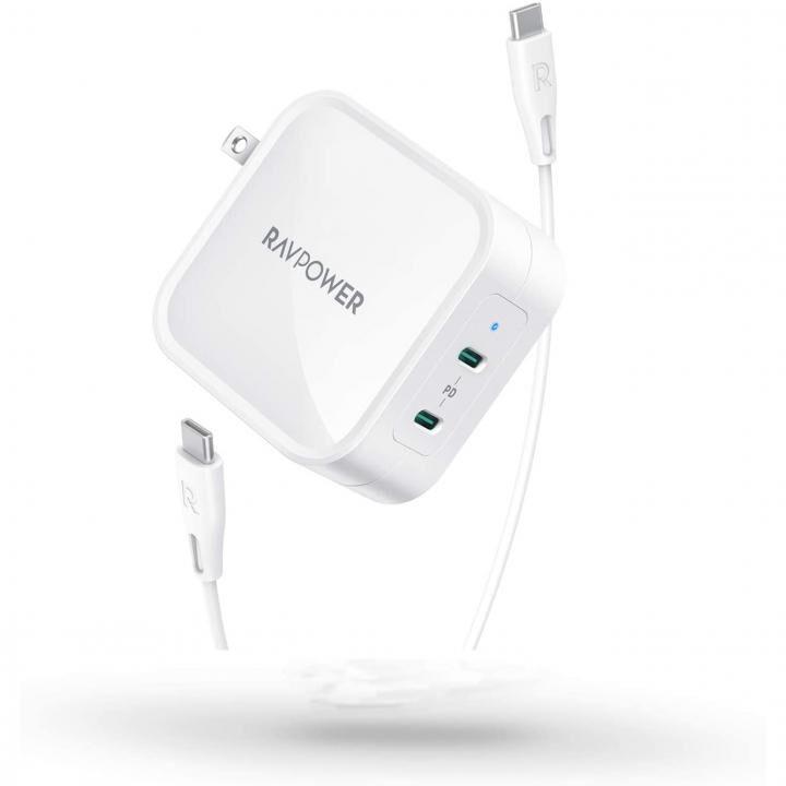 RAVPower RP-PC128 90W 2ポートUSB-C 急速充電器 GaN採用/PD3.0対応 ホワイト_0
