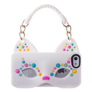 iPhone SE/5s/5 シリコンケース Cat Woman ホワイト