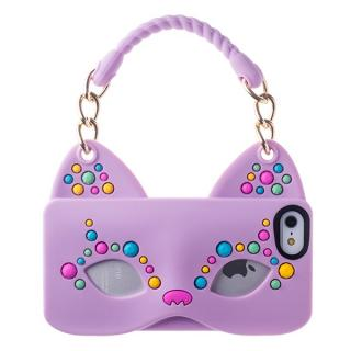 iPhone SE/5s/5 シリコンケース Cat Woman パープル