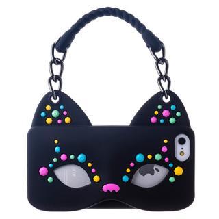 iPhone SE/5s/5 シリコンケース Cat Woman ブラック