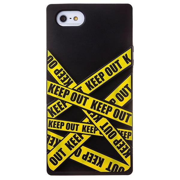 【iPhone SE/5s/5ケース】iPhone SE/5s/5 シリコンケース Keep Out ブラック_0