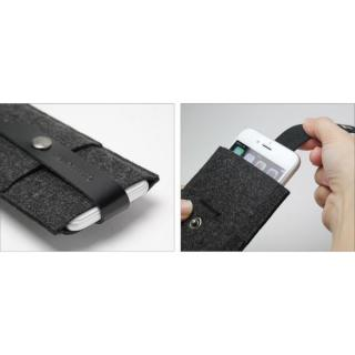【iPhone6ケース】Charbonize レザー & フェルト ウォレットケース ブラック iPhone 6_4