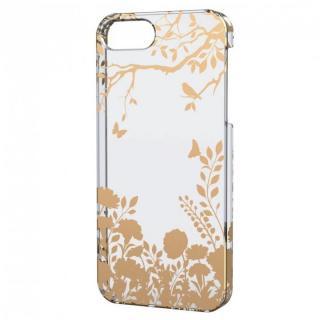 iPhone SE/5s/5用シェルケース(アップルテクスチャゴールド)シルエットフラワー