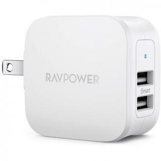 RAVPower USB 充電器 2ポート 17W アダプター USBコンセント コンパクトサイズ/折畳式プラグ/iSmart搭載 ホワイト【4月中旬】