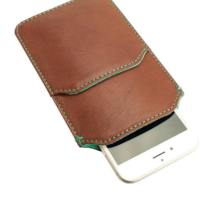 【iPhone6ケース】ポケット付山羊革スリーブケース ブラウン×ターコイズブルー iPhone 6_0