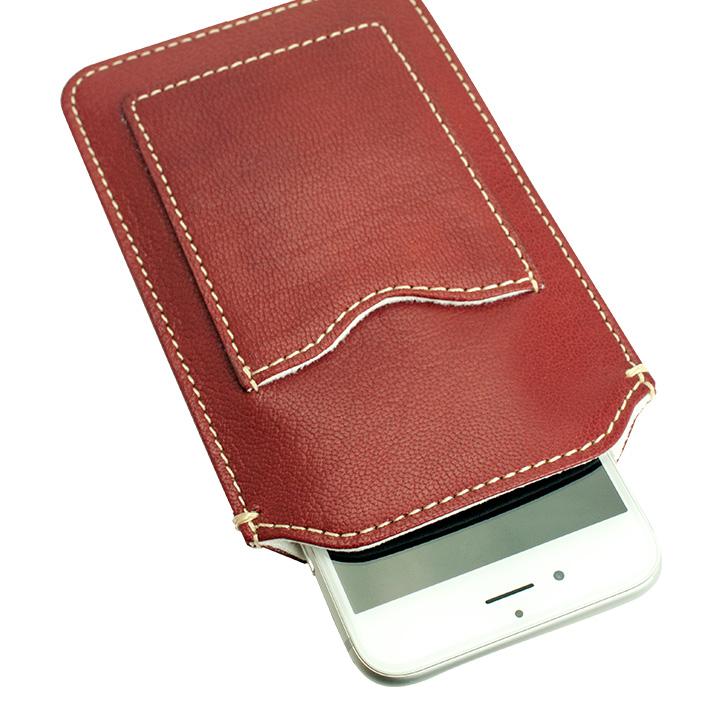 【iPhone6ケース】カード入れ付き山羊革スリーブケース レッド×ホワイト iPhone 6_0