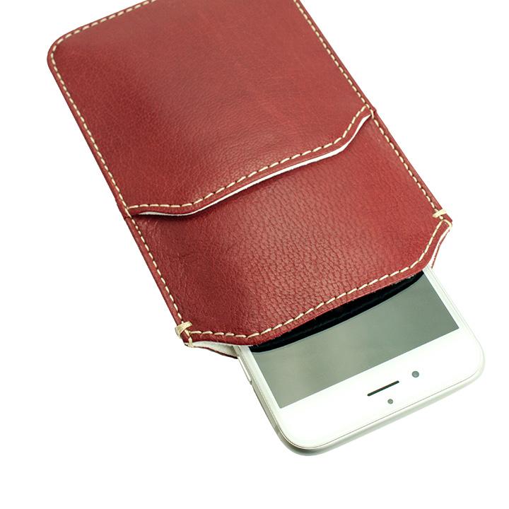 【iPhone6ケース】ポケット付山羊革スリーブケース レッド×ホワイト iPhone 6_0