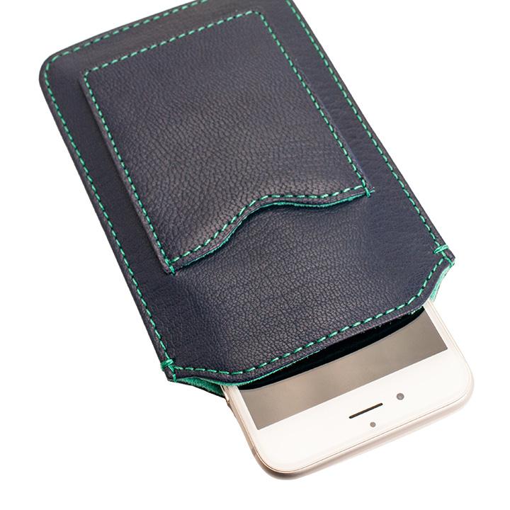 【iPhone6ケース】カード入れ付き山羊革スリーブケース ネイビー×ターコイズブルー iPhone 6_0