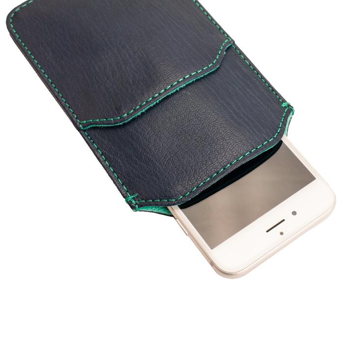【iPhone6ケース】ポケット付山羊革スリーブケース ネイビー×ターコイズブルー iPhone 6_0