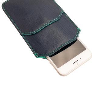 ポケット付山羊革スリーブケース ネイビー×ターコイズブルー iPhone 6