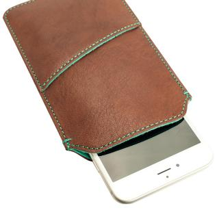 【iPhone6 Plusケース】ポケット付山羊革スリーブケース ブラウン×ターコイズブルー iPhone 6 Plus