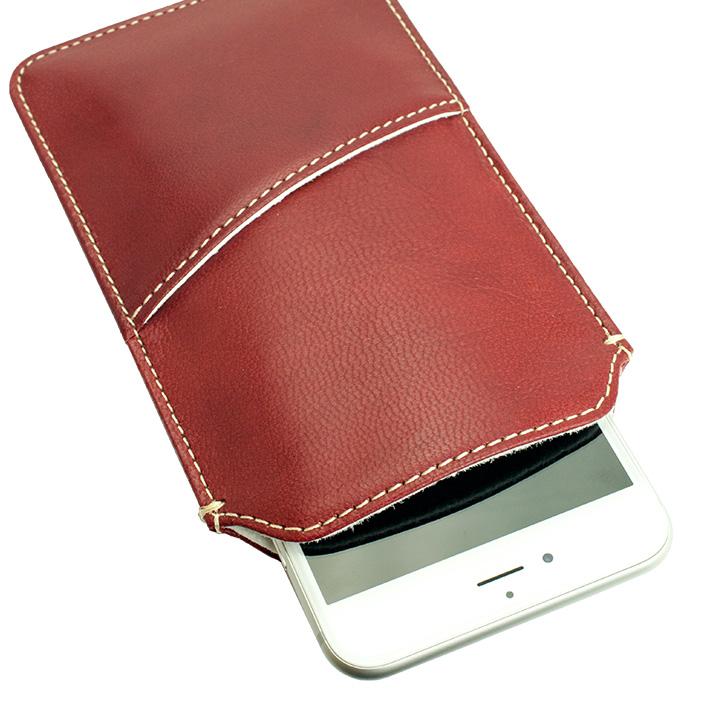 ポケット付山羊革スリーブケース レッド×ホワイト iPhone 6 Plus