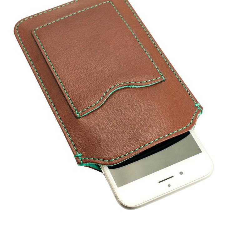 【iPhone6ケース】カード入れ付き山羊革スリーブケース ブラウン×ターコイズブルー iPhone 6_0