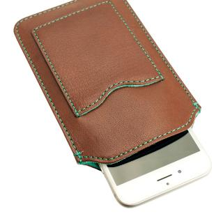 【iPhone6ケース】カード入れ付き山羊革スリーブケース ブラウン×ターコイズブルー iPhone 6