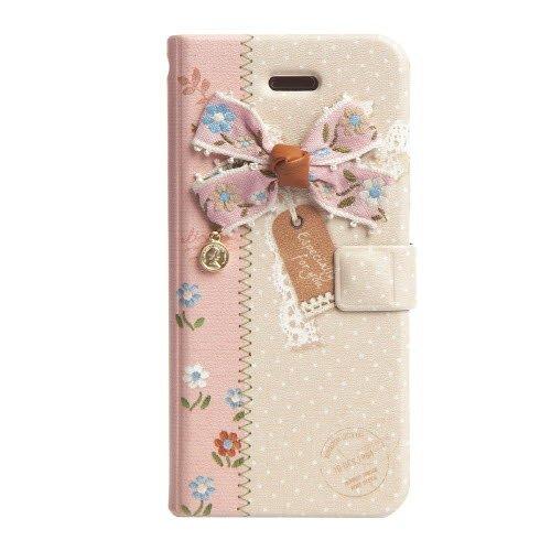 iPhone SE/5s/5 エンブロイダードリボン 手帳型ケース ピンク