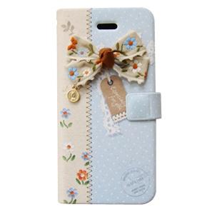 iPhone SE/5s/5 エンブロイダードリボン 手帳型ケース ブルー