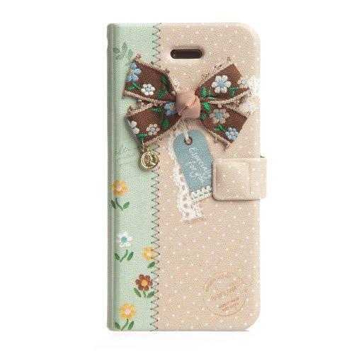iPhone SE/5s/5 ケース iPhone SE/5s/5 エンブロイダードリボン 手帳型ケース グリーン_0
