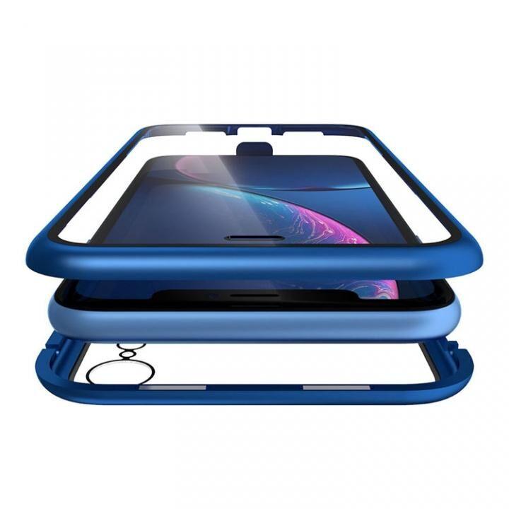 iPhone XR ケース Monolith Alluminio(モノリス アルミニオ) ブルー 両面強化ガラス+アルミバンパー iPhone XR_0