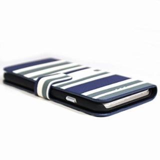 【iPhone6 Plusケース】ボーダー手帳型レザーケース ブラック×ベージュ iPhone 6 Plusケース_3