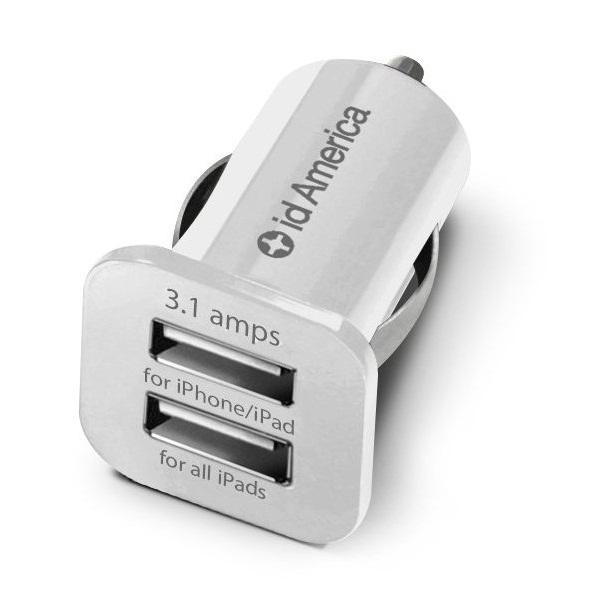 id America Dual USB Car Charger 【White】_0