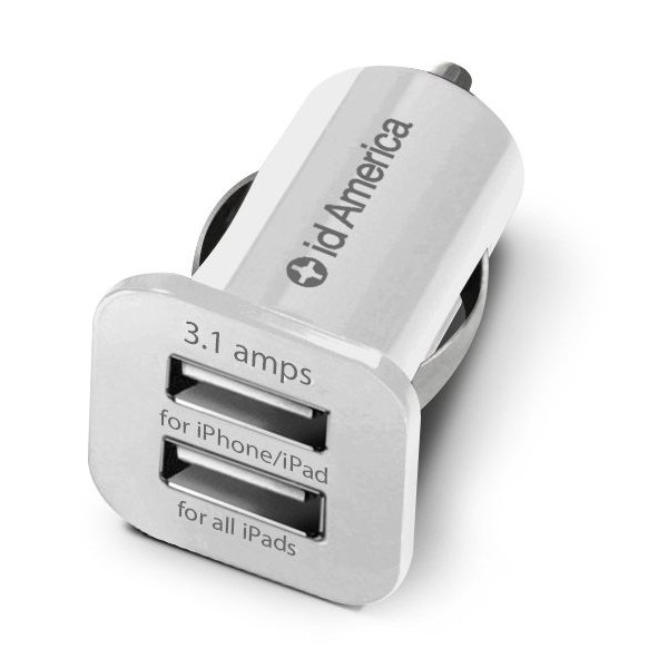 id America Dual USB Car Charger 【White】_0