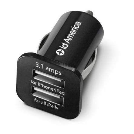 id America Dual USB Car Charger 【Black】