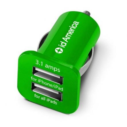 id America Dual USB Car Charger 【Green】