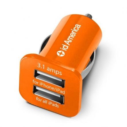 id America Dual USB Car Charger 【Orange】